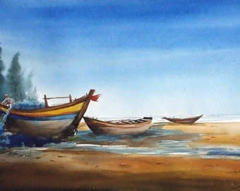 Fishing Boats at Seashore