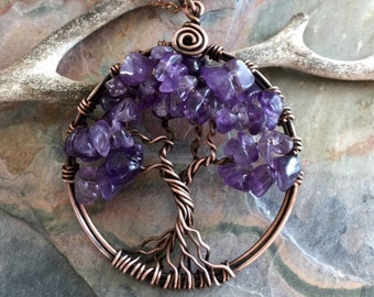 Amethyst Necklace,Amethyst Tree of Life Necklace,Wire Wrapped Amethyst Tree of Life Pendant in Antiqued Copper,February Birthstone