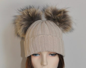 Double Pompom Hat Beige Ribbed Hat with 2 Fur Pom Pom Hat SALE Ski Women Hat Kylie Jenner Style Christmas Gift under 100