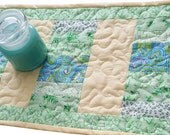 Ocean Breeze Patchwork Table Mat or Runner, Handmade Quilted Springtime Home Decor, light green and blue and yellow