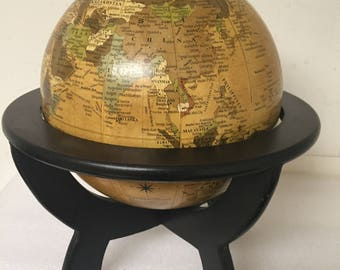 Mini Globe with Wood Stand Vintage look Decorative
