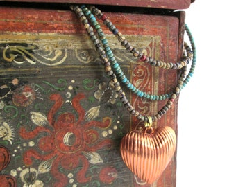 Copper Heart Layered Necklace, Picasso Czech Glass Multiple Strand Bead Necklace, Bohemian Gypsy Princess Length, Rustic Turquoise