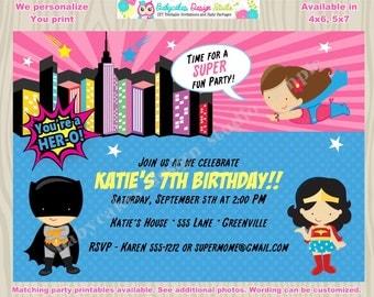 Girl Superhero Invitation Invite Girl superhero Party supergirl invitation girl superhero birthday party invitation invite Printable DIY