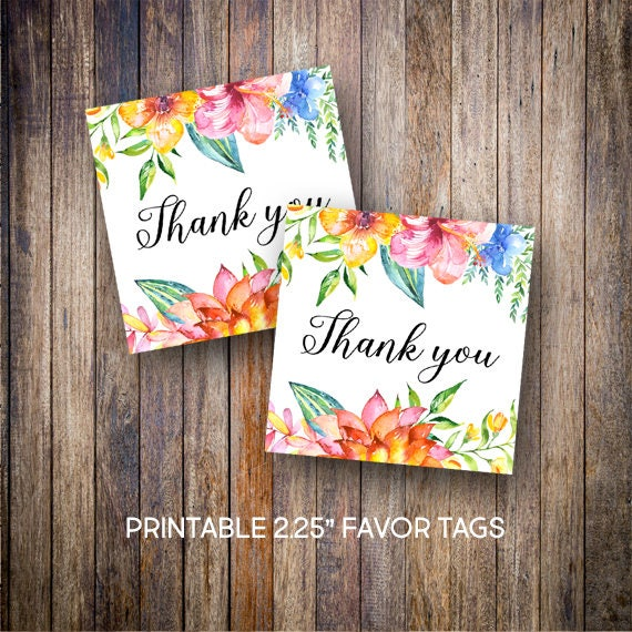 "Tropical Flower Favor Tags, 2.25"" Square Tags, Thank You"