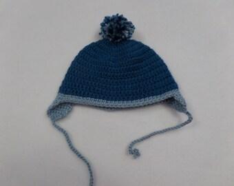 Blue Newborn Earflap Pom Pom Hat