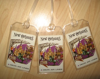 Delta Airlines New Orleans Luggage Tags - Vintage DAL Playing Card Name Tag (3)