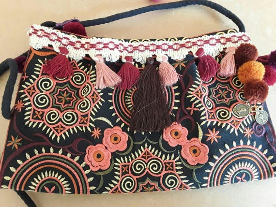 Leather clutch,   fringed bag,boho bag with tassels,Boho clutch, boho mini bag wallet, travel bag women clutch,