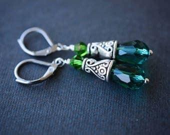 Green Teardrop Earrings,  Czech Earrings, Green Earrings, Steel Earrings, Leverback Earrings, Swarovski Earrings