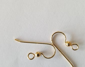 Gold plated drop earring findings 24 pc.