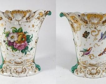 19th Century French 'Porcelaine de Paris'  Vase with Hand Painted Decoration