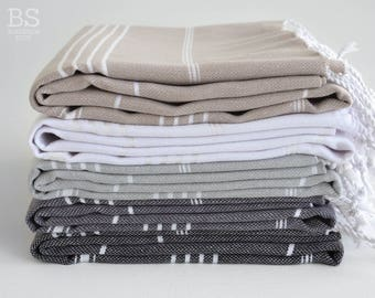 NEW / SALE 50 OFF/ BathStyle / Classic Style Turkish Beach Bath Towel Peshtemal / Beige-White-Gray-Black