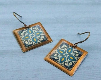 Blue & Turquoise Tiles on Gold Plated Brass Earrings, Spanish, Mexican, Catalina and Mediterranean Tile Inspired