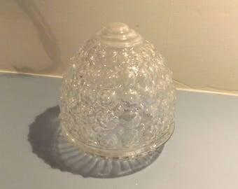 Vintage light globe, Clear hobnail glass light globe, Rosette acorn globe, art deco glass globe, Mid century