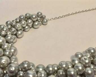 Dove Grey Pearl Silver Statement Necklace
