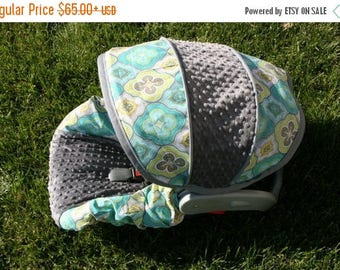 SALE Medallion fabric with Gray minky- Infant car seat cover- Custom Order Comes with Free Strap Covers