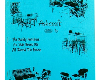 ASHCRAFT BAMBOO FURNITURE Catalog by Heywood Wakefield - 1980s Reproduction of Original 1950