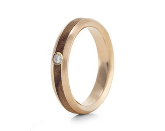 Native Oval Rose Diamond - 9ct Rose Gold & Wood Ring
