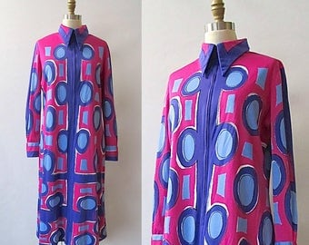 VERA NEUMANN Vintage 60s Dress | 1960's OP Art Jersey Knit Shift Dress | Bright Purple Pink & Blue  | Designer Mod Go Go, Pop Art | Sz Large