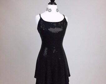 90's Sequin Flare Spaghetti Strap Skater Dress // L