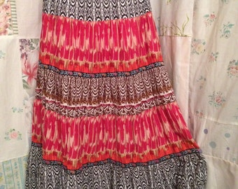 EXTRA LARGE, Skirt, Cotton Tiered  Bohemian Hippie FlowerChild Boho Multicolor Indie Skirt