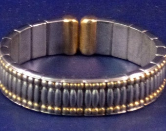Vintage Two-Toned Hinged Cuff Bracelet, 1980s