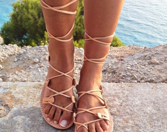SALE leather sandals ,gladiator sandals, Greek leather lace-up Sandals,handmade sandals