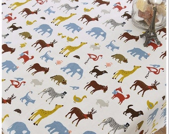 Tablecloth Wild Animal Kids Rectangle Square Round Dinner,Party,Wedding,Birthday--Cotton linen Custom Size,Table Runner,Pillow GET FREE GIFT