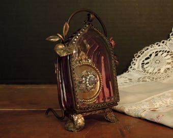 Antique Cranberry Glass Pocket Watch Holder Casket Box / Beveled Glass Flip Door / French Decor / Jewelry Display