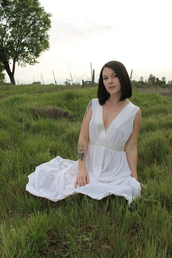 MOONDANCE Night Gown Vintage 1970's Dress Maxi Nightie White Intimates Bridal