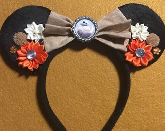 Custom Star Wars BB8 Robot bow floral Mouse Ears headband great Birthday Party Gift Favor