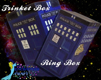Dr Who Tardis box OR ring box- hand painted wood- Personalize for free- ONLY one ring box left!!!