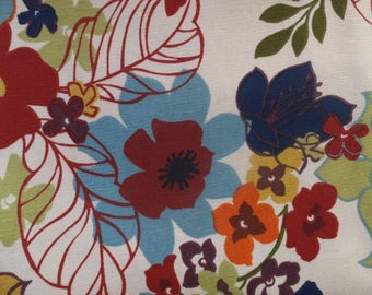 Vintage Aqua Blue Orange Green Brown Floral Fabric
