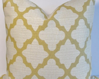 Moroccan Quatrefoil Geometric Decorative pillow cover Designer Citrine natural woven throw pillow Both Sides or Front only Lumbar Square