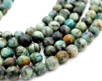 "African Turquoise Gemstone Beads, 8mm Natural Gemstone, Full 15.5"" Strand, 47 pcs"