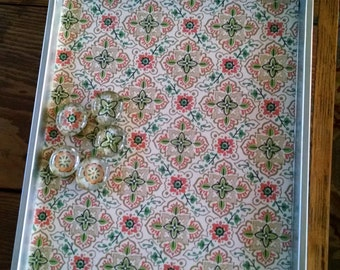 cookie sheet with vintage wallpaper magnetic board and magnets