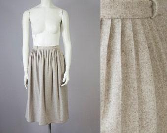 "Vintage Tan Speckled High Waisted Pleated Midi Skirt (S; 27"" Waist)"
