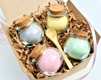Flavored Sugar Sampler Gift Set- 4 Mini Honey Pot Jars, Mini Wood Spoon, Tea Party, Coffee, High Tea, Rimming Sugar, Gift Set, Hostess Gift