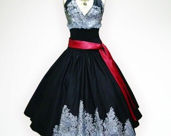 Retro Black Beautiful Roses 50s Pin up Rockabilly Swing Dress Full Swing Skirt