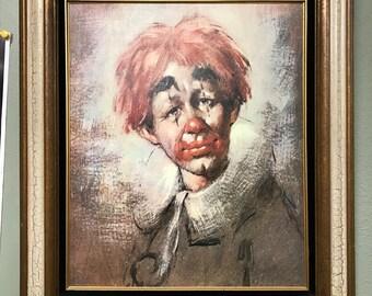 Vintage Large Framed Sad Clown Print