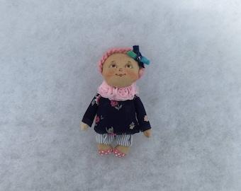 Miniature doll,art doll brooch, primitive doll brooch, OOAK doll brooch, textile doll brooch