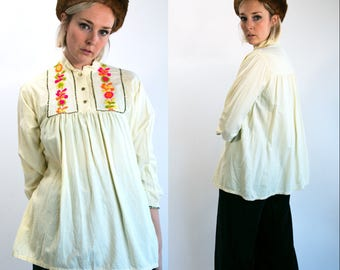Vintage 70's Neon Embroidered Cream Colored Blouse Top Hippie/Boho/Retro Women's Medium Large