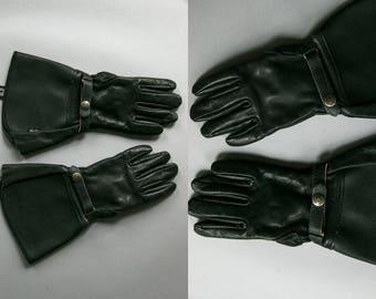 Vintage Indian Motorcycle Black Leather Gloves / Gauntlet / Ladies