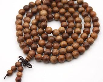 Tibetan Buddhist 108 8mm x 8mm Wood Prayer Beads Mala Necklace HL001