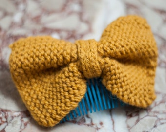 Large Hand Knit Bow Hair Comb,  Mustard Colored Hair Bow, Black Bow Hair Comb