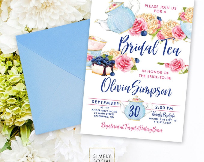 Bridal Tea Shower Invitation - Tea with the Bride to Be Peony Ranunculus Watercolor Tea pot Tea Cup Bridal Shower Printable Invitation