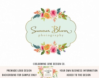 premade logo photography logo florist logo floral logo flower logo circular logo event planner logo wedding planner logo boutique logo