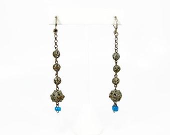 Antique 835 Silver Dangle Earrings, Moroccan Earrings, Blue Glass Trade Beads, Vintage Jewelry, Pierced Ears, Silver Earrings, Tribal Style