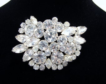 Juliana Delizza Elster Rhinestone Brooch, Clear Rhinestones, Crystal Pin, Vintage Jewelry, Crystal Brooch, 1950s Jewelry, Rhinestone Pin