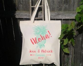 Aloha Wedding Tote Bag, Destination Wedding, Welcome Bags, Customized for FREE