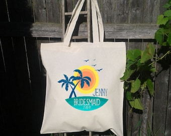 Palm Trees, Sunset, Bridesmaid Tote Bag, Destination Wedding Gift Bag, Maid Of Honor